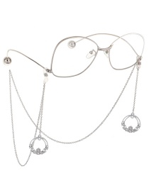 Fashion Silver Metal Round Flower Glasses Chain
