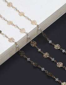 Fashion Gold Golden Rose Crystal Glasses Chain