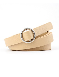Fashion Beige Double Fabric Small Round Buckle Knotted Thin Belt
