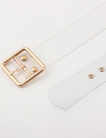 Fashion Small Square Buckle + Gold + Gas Eye Pvc Transparent Round Buckle Belt