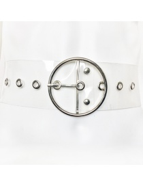 Fashion Big Round Buckle + Silver + Eye Pvc Transparent Round Buckle Belt