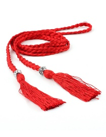 Fashion Red Braided Bow Rope Knotted Waist Chain