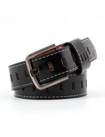 Fashion Black Pin Buckle Hollow Hole Belt