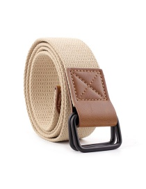 Fashion Beige Canvas Double Buckle Buckle Woven Belt