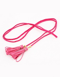 Fashion Rose Red Woven Twist Tassel Thin Belt