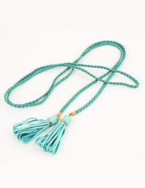 Fashion Light Green Woven Twist Tassel Thin Belt