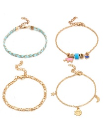Fashion Gold Alloy Sun Star Moon Baby Heart Shape 4 Layer Anklet