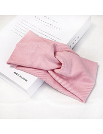 Fashion Water Pink Knit Hair Band Fabric Striped Knit High Stretch Wide-brimmed Cross Hair Band