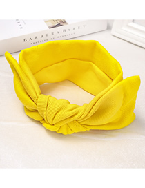 Fashion Yellow Bow Knit Hair Band Knitted Bow Tie