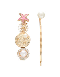 Fashion Pink Alloy Starfish Pearl Drop Oil Star Hairpin
