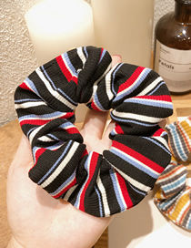 Fashion Knitting - Black Red Knitted Striped Hair Ring