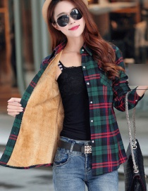 Fashion Blue Green Red Plus Velvet Padded Plaid Shirt