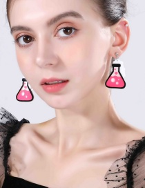 Fashion Pink Measuring Cup Experiment Bottle Earrings
