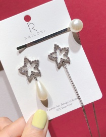 Fashion Silver S925 Silver Pin Asymmetric Pearl Five-pointed Star Earrings