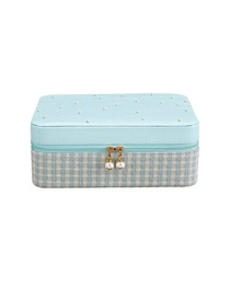 Fashion Blue Pu Wool And Diamond Multi-layer Jewelry Box