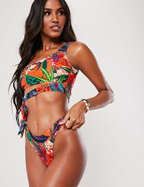 Fashion Color Printed One-shoulder Lace-up Split Swimsuit
