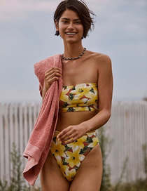 Fashion Yellow Printed Tube Top High Waist Split Swimsuit