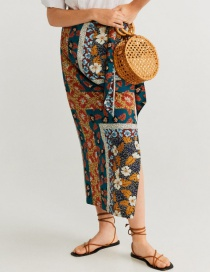 Fashion Color Linen Mixed Printed Knotted Skirt