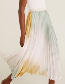Fashion Color Tie-dyed Gradient Printed Elastic Waist Pleated Skirt