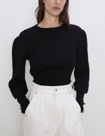 Fashion Black Button Ribbed Sweater