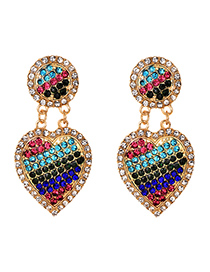 Fashion Color Alloy Diamond Heart Earrings