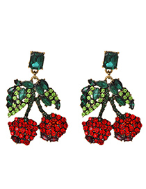 Fashion Cherry Alloy Studded Cherry Earrings