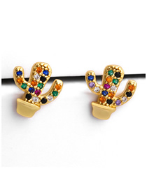 Fashion Cactus Potted Zircon Earrings