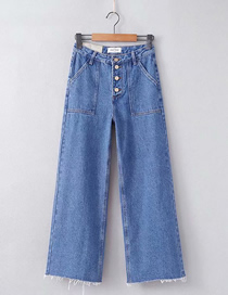 Fashion Jean Blue Washed High Waist Single-breasted Hem Edging Wide-leg Pants