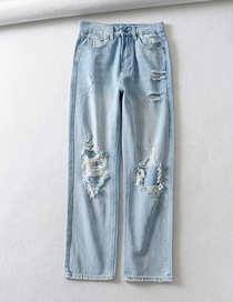 Fashion Light Blue Washed Holes In Washed Jeans
