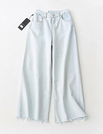 Fashion Light Blue Washed Denim Edging Wide Leg Pants