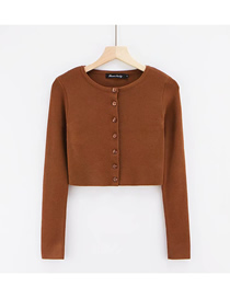 Fashion Coffee Color Solid Color Seven Button Round Neck Single-breasted T-shirt