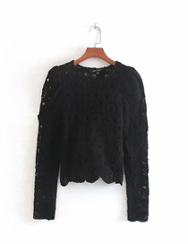 Fashion Black Textured Sleeve Lace Embroidered Shirt