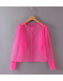 Fashion Rose Pink Solid Color Dot Print Round Neck Shirt