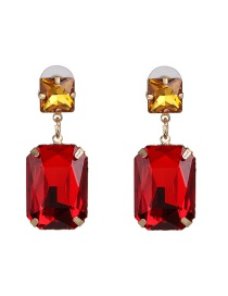 Fashion Red Geometric Diamond Stud Earrings