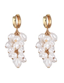 Fashion White Grape Seed And Diamond Pearl Tassel Earrings