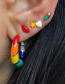 Fashion Color Painted Oil Rainbow Earrings Set