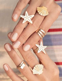 Fashion Gold Starfish Shell Open Ring