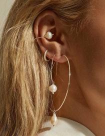 Fashion Gold Big Circle Pearl Earrings