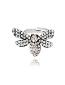 Fashion Silver Little Bee Crystal Open Ring