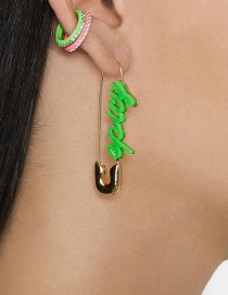 Fashion Green Gold-plated Pin Earrings