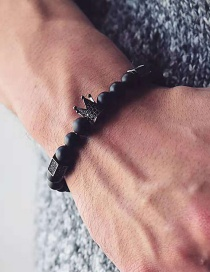 Fashion Black Crown Beaded Bracelet