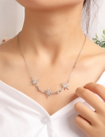 Fashion Silver Star Necklace With Diamond Necklace