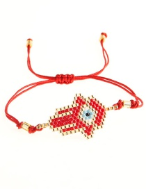 Fashion Red Rice Beads Woven Palm Bracelet  Beads