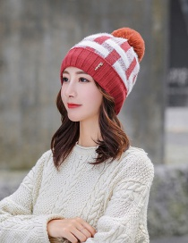 Fashion Red Wine Plush Knitted Wool Cap
