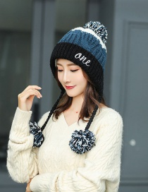 Fashion Black Color Matching Hair Ball Knitted Wool Cap