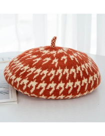 Fashion Orange Houndstooth Wool Beret
