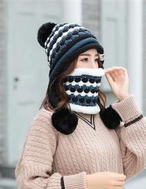 Fashion Black Color Matching Knit Bib Wool Cap Two-piece