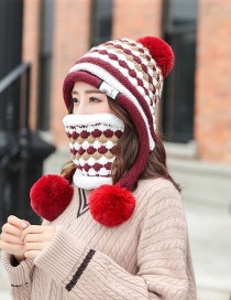 Fashion Red Wine Color Matching Knit Bib Wool Cap Two-piece