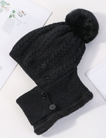 Fashion Black Siamese Face And Velvet Button Wool Cap
