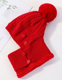 Fashion Red Siamese Face And Velvet Button Wool Cap